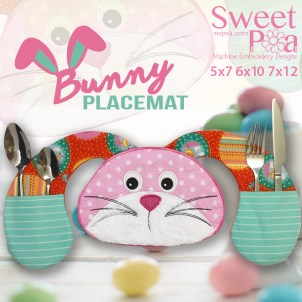 Bunny Placemat 5x7 6x10 7x12 in the hoop