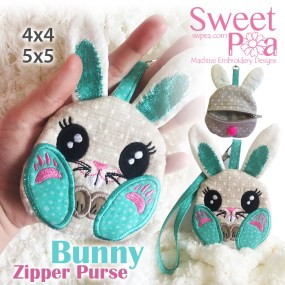 Bunny Zipper Purse 4x4 5x5 in the hoop