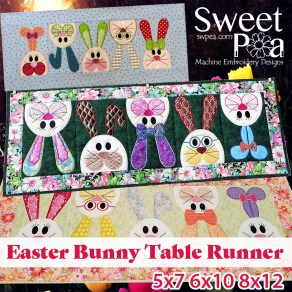 Easter Bunny Table Runner 5x7 6x10 8x12 in the hoop