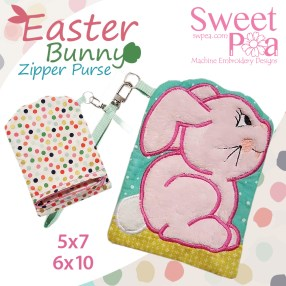 Easter Bunny Zipper Purse 5x7 6x10 in the hoop