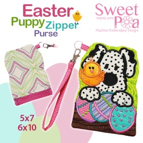 Easter Puppy Zipper Purse 5x7 6x10 in the hoop