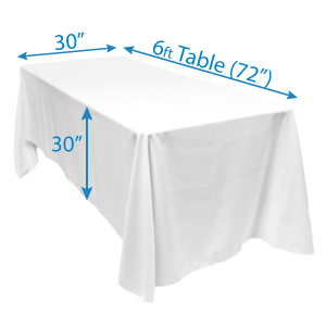illustrates what a floor length tablecloth looks like on a standard 6' banquet table