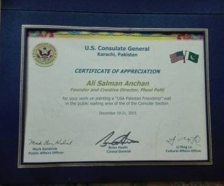 Certificate of Appreciation by the U.S Consulate General