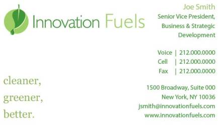 Innovation Biofuels Business Card