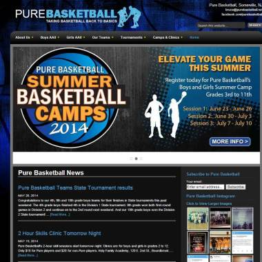 Pure Basketball Website Home Page
