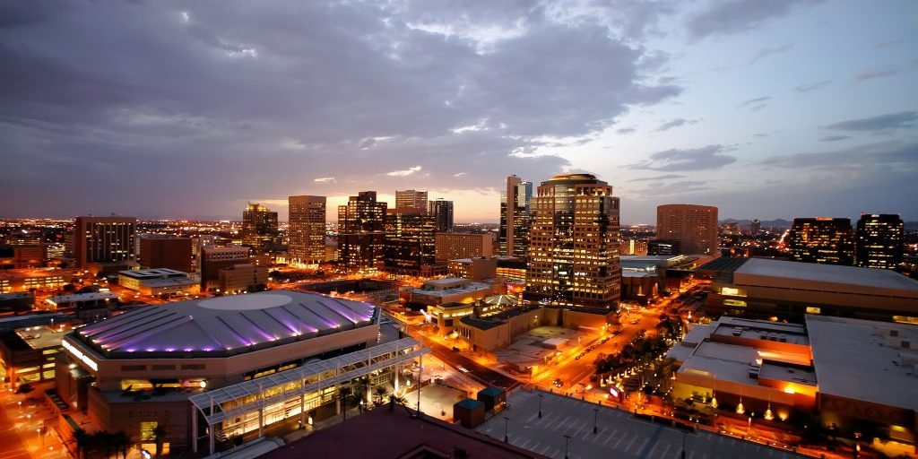 City of Phoenix downtown at night.