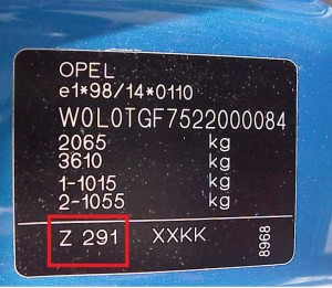Vauxhall Tigra Paint Code Location