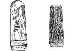 صورة ومخطط نصب الإله بعل من أوغاريت - متحف اللوفر بباريس