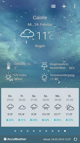 Wetter laut App