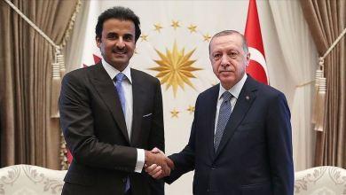 صورة أردوغان وأمير قطر يبحثان التعاون في مكافحة كورونا