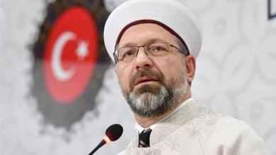 صورة رسالة من رئيس الشؤون الدينية الى الشعب التركي