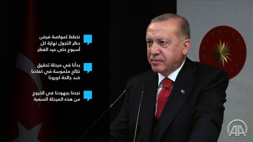 """الرئيس التركي …بدأنا نحقق نتائج إيجابية ضد """"كورونا"""""""
