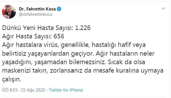 تويتر - تحذيرمن وزير الصحة التركي فخر الدين قوجة! بخصوص الكمامات