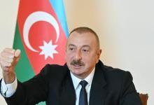 صورة علييف يعلن تحرير كامل الأجزاء التي تحتلها أرمينيا على الحدود مع إيران