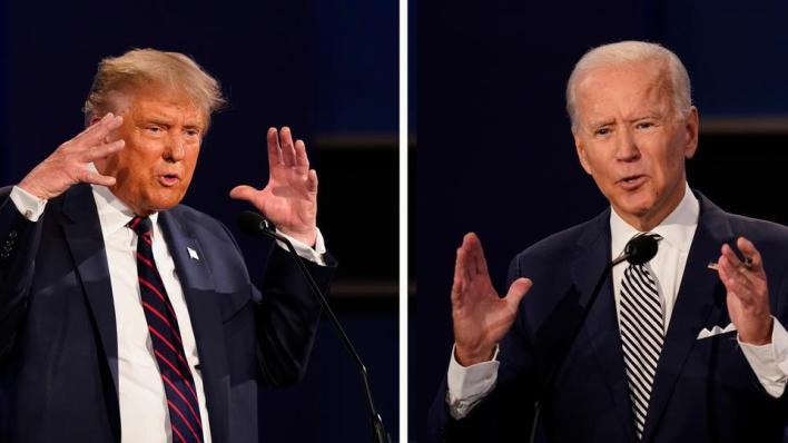 يتواجه الرئيس الأمريكي دونالد ترمب اليوم الخميس، مع منافسه الديمقراطي جو بايدن في مناظرة متلفزة أخيرة