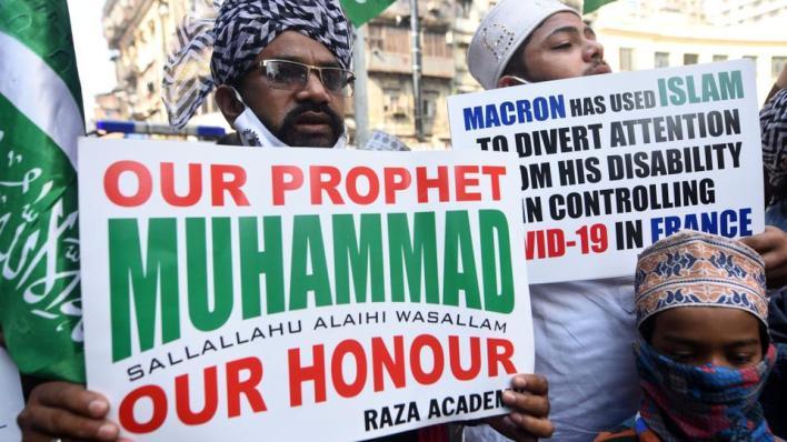 مظاهرات في مدينة مومباي الهندية احتجاجاً على الرسوم الفرنسية المسيئة للرسول الكريم