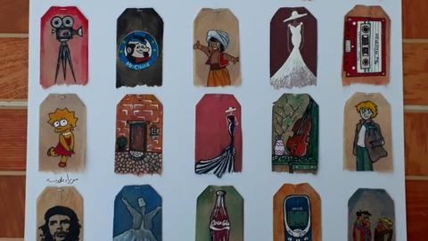 9507309 1164 655 9 300 - فنانة أردنية تحوِّل أكياس الشاي إلى لوحات فنية