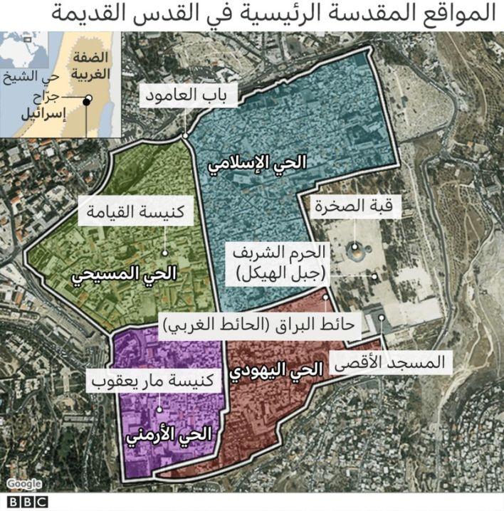 118850494 final jerusalem quarters arabic mapv2 2x640 nc 1 002 - شاهد بالفيديو.. مسيرات في إسرائـ.ـيل تسيء للإسلام ونبيه ومقدساته / تاريخها