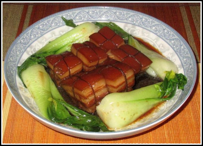 Dongpo Pork served with Baby Bok Choy