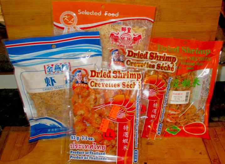 Commercial packages of dried shrimp