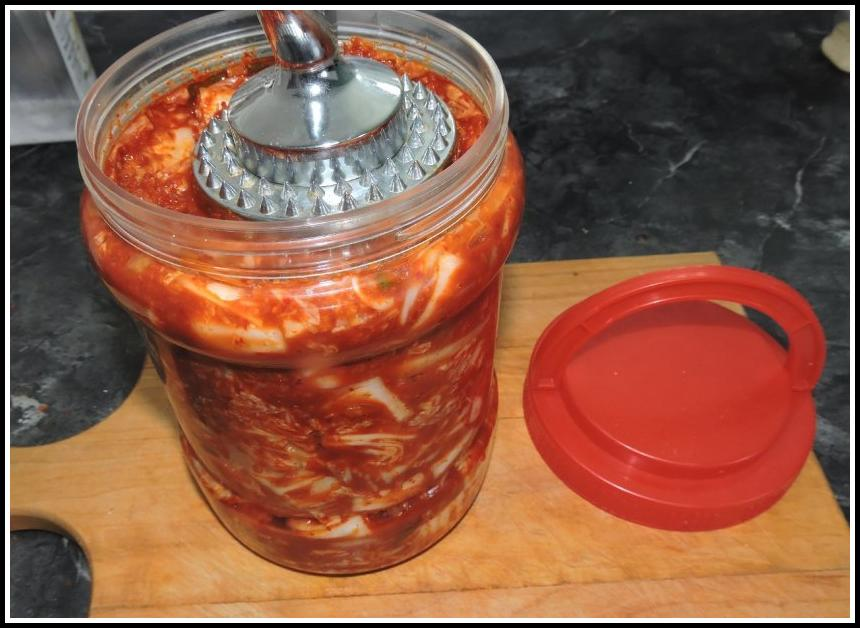 Kimchi Mix packed into a jar to ferment