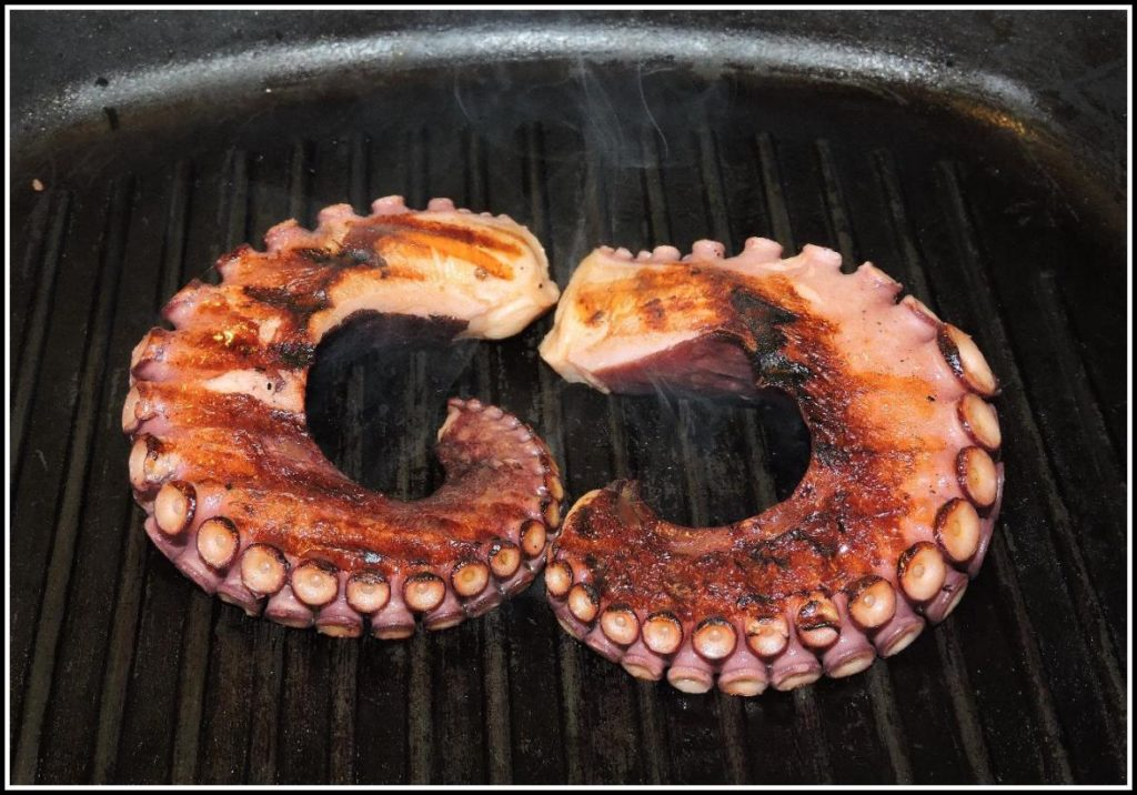 Octopus tentacles on the grill