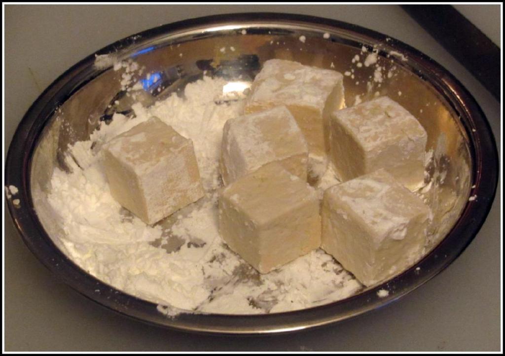 Coating the Tofu Cubes