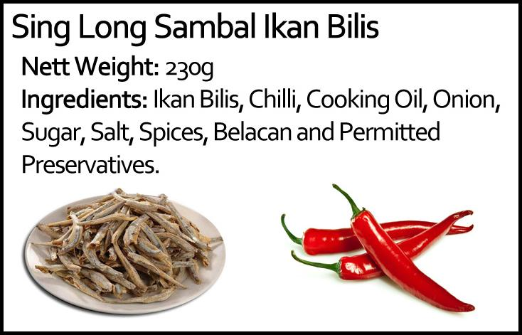 Ingredients list for Singlong Sambal Ikan Bilis