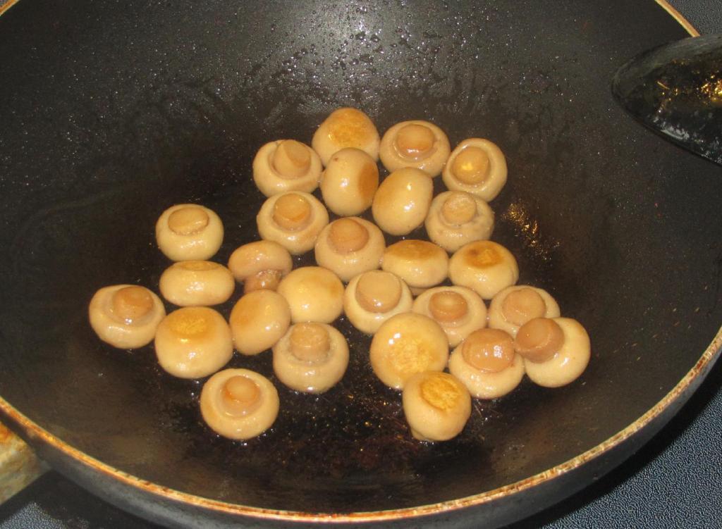 Pan-frying the Mushrooms