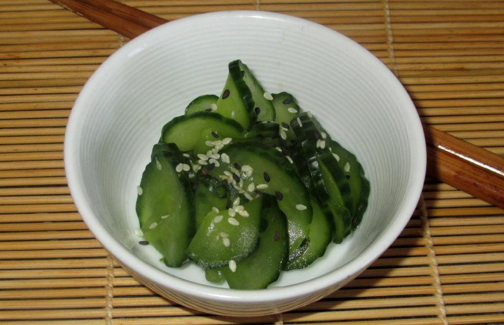 A Cucumber Sunomono prepared with Nihaizu