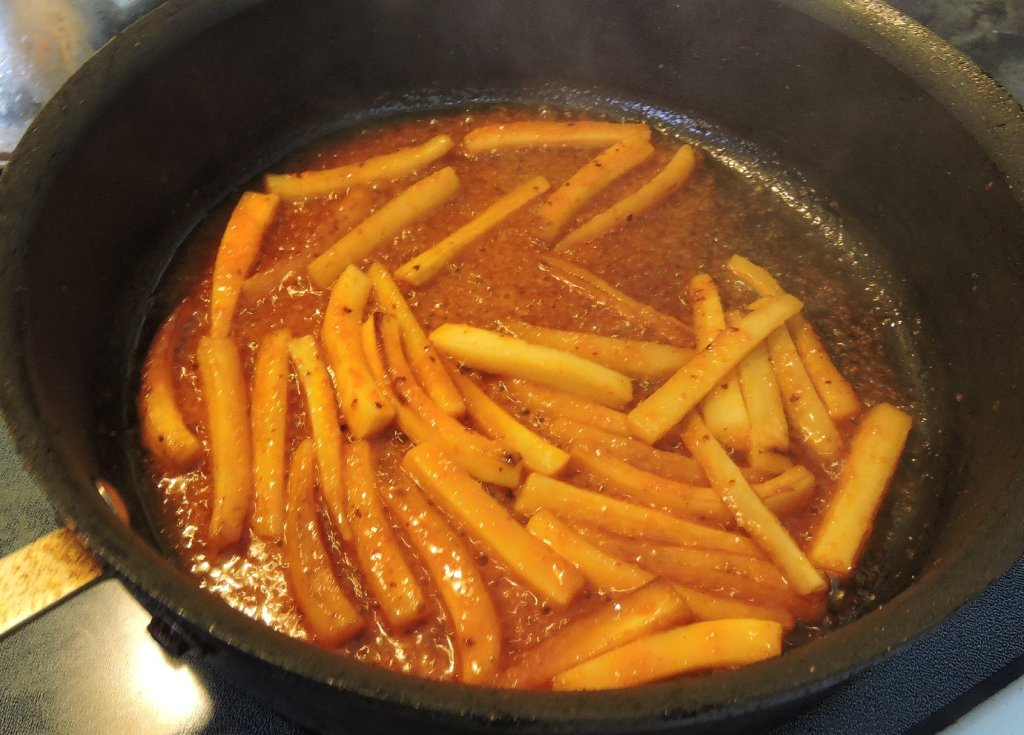Finishing the Parsnip in the sauce
