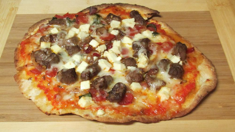 Naan Pizza with Lamb and Feta