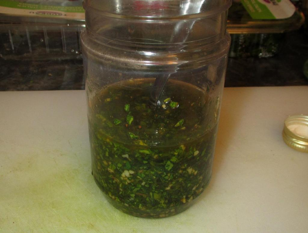 Finishing the Chimichurri Sauce