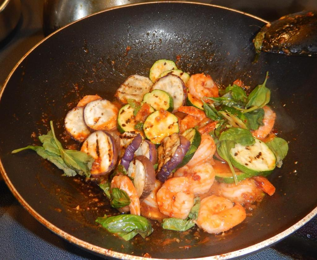 Finishing the Red-Curried Shrimp and Vegetables