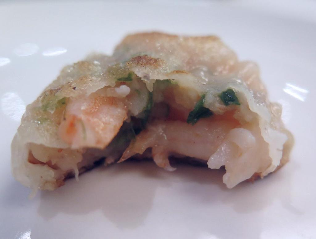 The filling in the Chive and Shrimp Cake at May Garden
