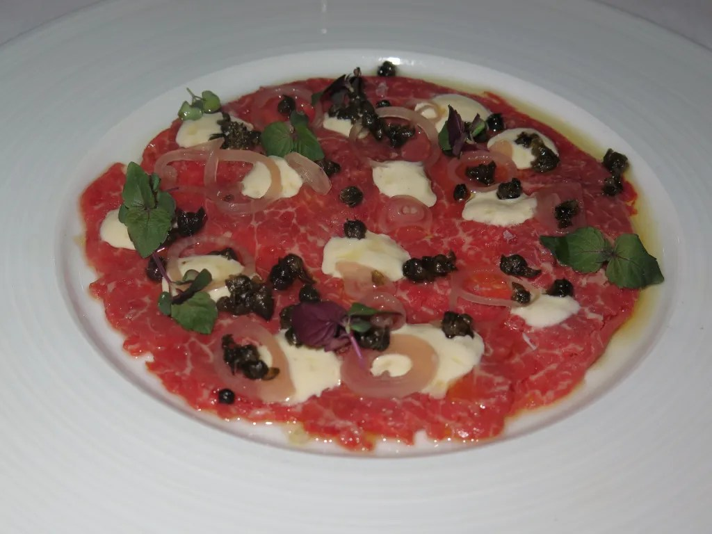 Beef Carpaccio at Restaurant E18teen in Ottawa