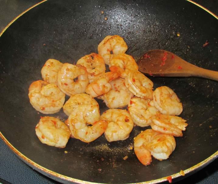 Frying Marinated Shrimp