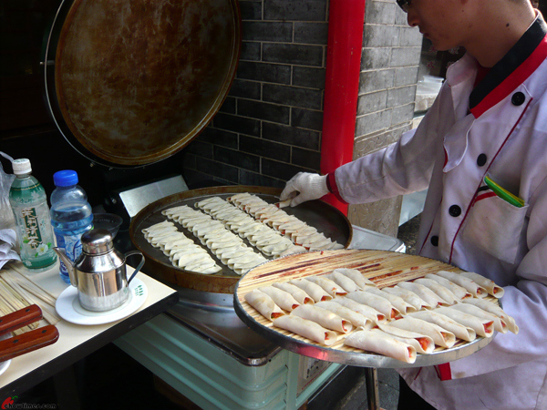 Dumplings being cooked in the Muslim Quarter in Xi'an, China