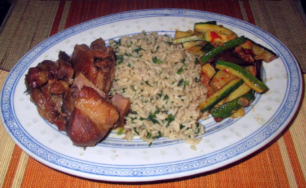 Yu Xiang Eggplant and Zucchini with Rice and Ribs