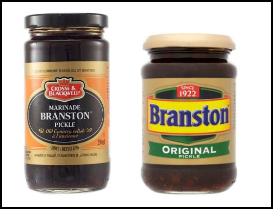 Jars of Commercially made Branston Pickle
