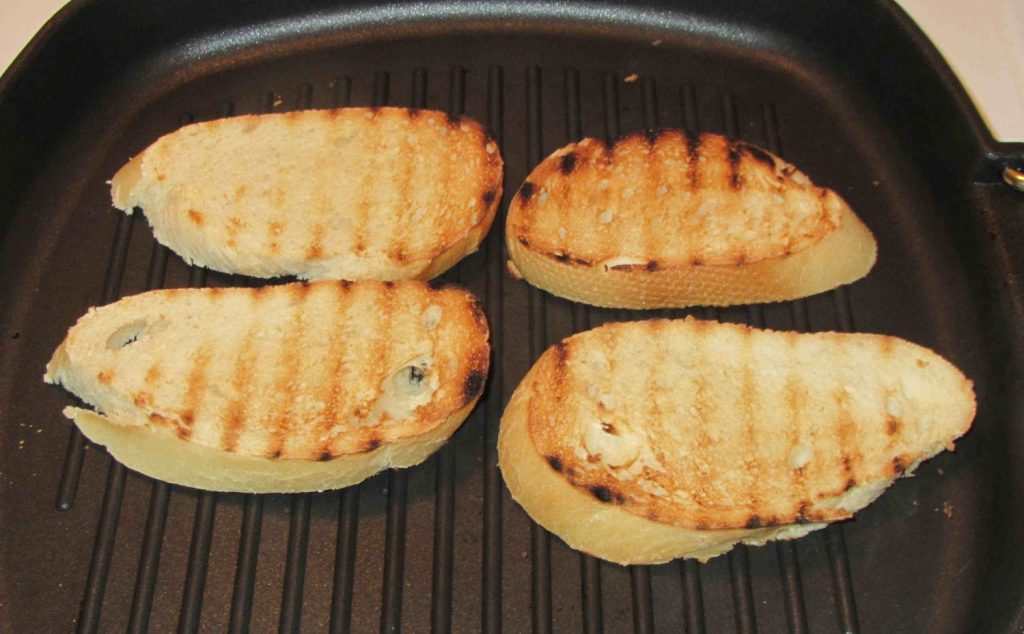 Making Crostini using a ridged Grill-pan