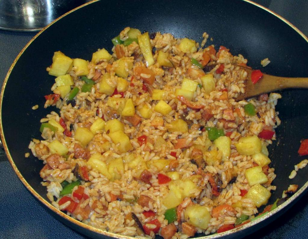 Finishing Thai Pineapple Fried Rice