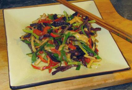 Dry Fried Beef with Pickled Bamboo