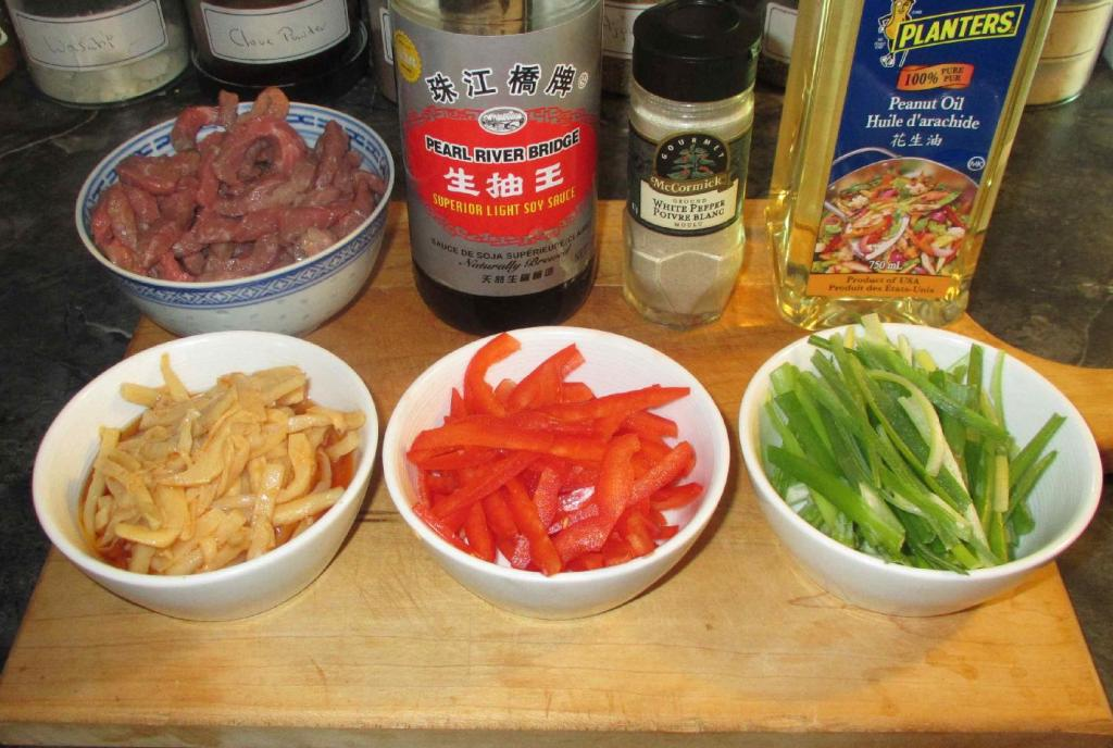 The Ingredients for Dry Fried Beef with Pickled Bamboo