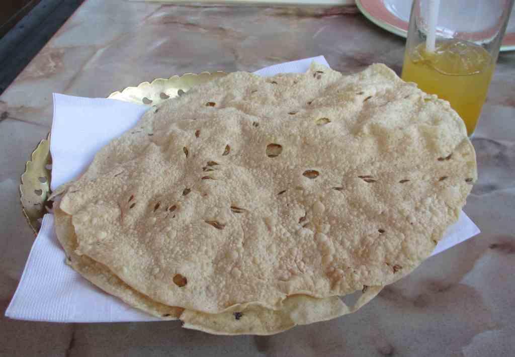 Complimentary Cumin Seed Pappadum at Haveli