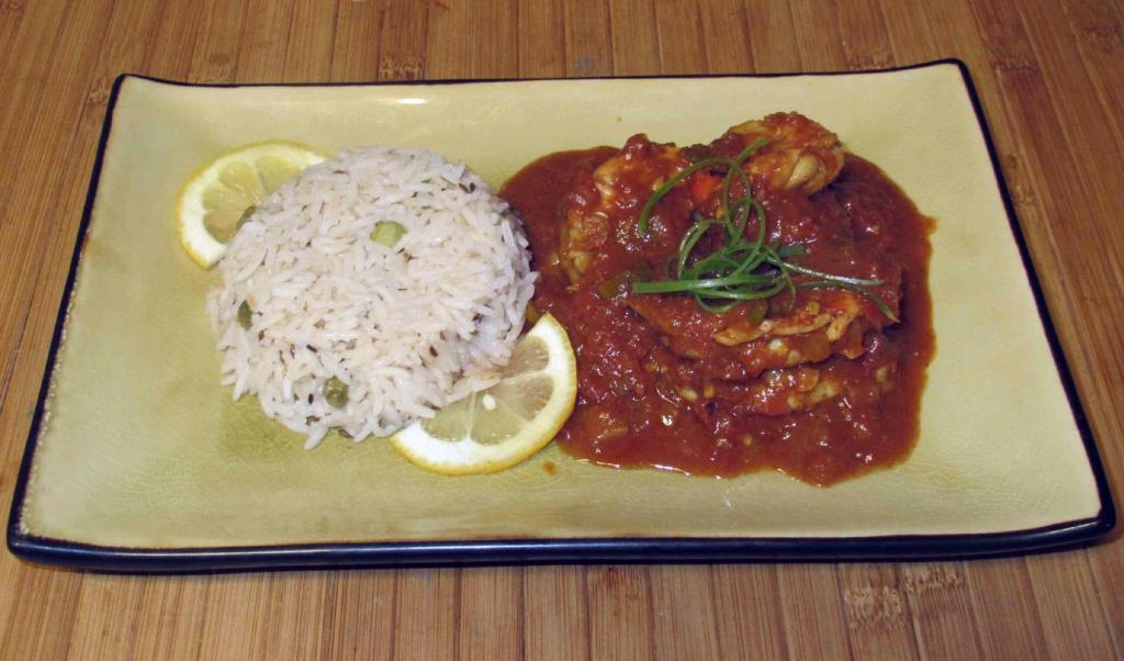 A serving Tiger Prawn Curry with Rice
