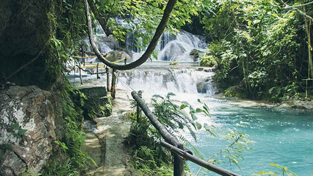 Waterfalls on sunny day at Huatulco Mexico
