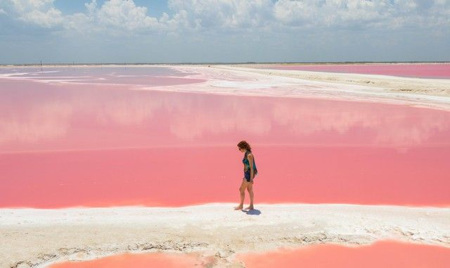 Las coloradas, a pink lake