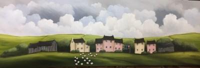 Springtime At The Farm 12 X 36 Acrylic on Canvas