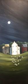"""""""Sheep Walking"""" 12"""" x 36"""" Acrylic on Canvas"""